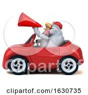 Poster, Art Print Of 3d White Chicken Driving A Convertible On A White Background