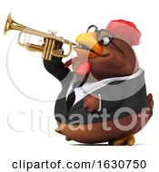 Poster, Art Print Of 3d Brown Business Chicken On A White Background
