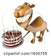 3d Camel Holding A Birthday Cake On A White Background