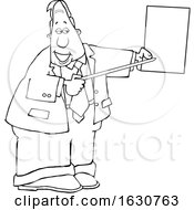Cartoon Black And White Business Man Pointing To A Piece Of Paper