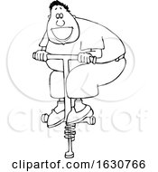 Cartoon Black And White Man Playing On A Pogo Stick