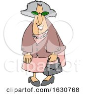 Cartoon Smiling Stylish Granny Dressed In Pink