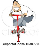 Cartoon White Man Playing On A Pogo Stick