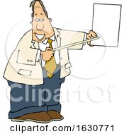 Cartoon White Business Man Pointing To A Piece Of Paper
