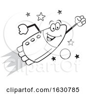 Cartoon Grayscale Happy Rocket Mascot Character Flying by Johnny Sajem