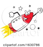Cartoon Happy Rocket Mascot Character Flying