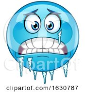 Cartoon Freezing Blue Emoji Emoticon With Ice