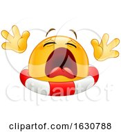 Poster, Art Print Of Cartoon Yellow Emoji Emoticon Drowning With A Life Buoy