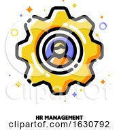Poster, Art Print Of Icon Of Yellow Gear With Employee Silhouette For Human Resources Management Concept
