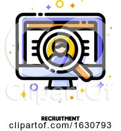 Icon Of Computer Screen With Person Photo And Magnifying Glass For Recruitment Or Employee Search Concept