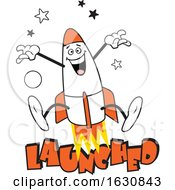 Cartoon Jumping Rocket Character Over Launched Text