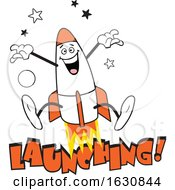 Cartoon Jumping Rocket Character Over Launching Text by Johnny Sajem