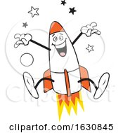 Cartoon Jumping Rocket Character