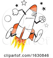 Cartoon Determined Running Rocket Character