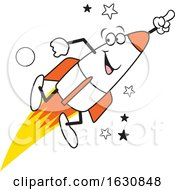 Cartoon Happy Launching Rocket