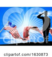 Poster, Art Print Of American Flag Patriotic Soldier Salute Background