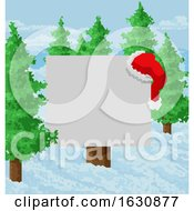 Christmas Snow Santa Hat Abstract Geometric Sign