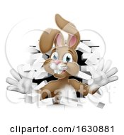 Poster, Art Print Of Easter Bunny Rabbit Cartoon Breaking Through Wall