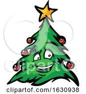 Happy Christmas Tree Mascot Character