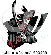Skeleton Pirate And Sword Badge
