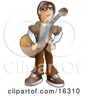 Teenage Caucasian Emo Boy Wearing A Brown Clothes And Standing With A Guitar Strapped Around His Chest