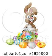 Easter Bunny Rabbit Eggs Hunt Basket Cartoon