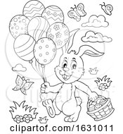 Poster, Art Print Of Easter Bunny With A Basket And Balloons