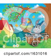 Poster, Art Print Of Easter Bunny In A Wheelbarrow