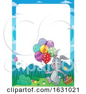 Easter Bunny With A Basket And Balloons