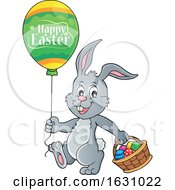 Poster, Art Print Of Easter Bunny With A Balloon And Basket