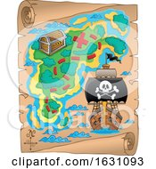 Poster, Art Print Of Pirate Ship On A Treasure Map