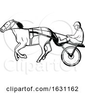 Black And White Horse Cart Racer