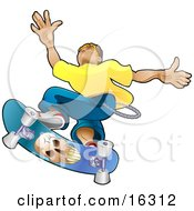 Teenage Caucasian Skater Boy Catching Air On A Blue Skateboard With A Skull On The Bottom