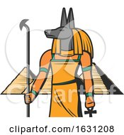 Egyptian Anubis And Pyramids