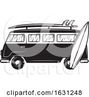 Poster, Art Print Of Black And White Kombi Van And Surfboards