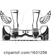 Black And White Hoverboard With Wings