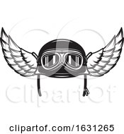 Black And White Winged Biker Helmet