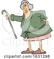 Cartoon Angry Senior Woman Shaking Her Cane
