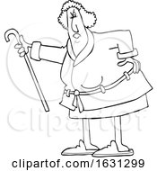 Cartoon Black And White Angry Senior Woman Shaking Her Cane