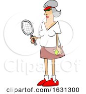 Cartoon Fit Senior Woman Playing Tennis