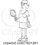 Cartoon Black And White Fit Senior Woman Playing Tennis