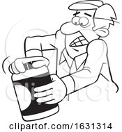 Cartoon Black And White Man Opening A Tough Jar