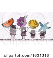 Poster, Art Print Of Black Stick Family With Beach Items