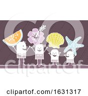 Poster, Art Print Of White Stick Family With Beach Items