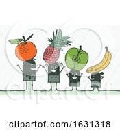 Poster, Art Print Of Black Stick Family With Fruit