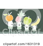 Poster, Art Print Of White Stick Family With Fruit