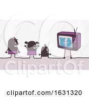 Poster, Art Print Of Black Stick Children Watching Tv