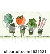 Poster, Art Print Of Black Stick Family With Veggies