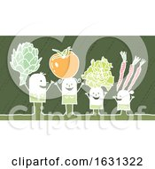 White Stick Family With Veggies