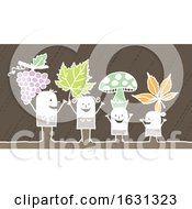 White Stick Family With Grapes Leaves And Mushrooms